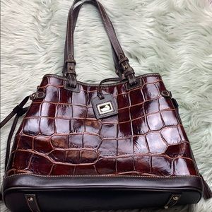 Dooney & Bourke Brown Reptile Emboss Leather Tote